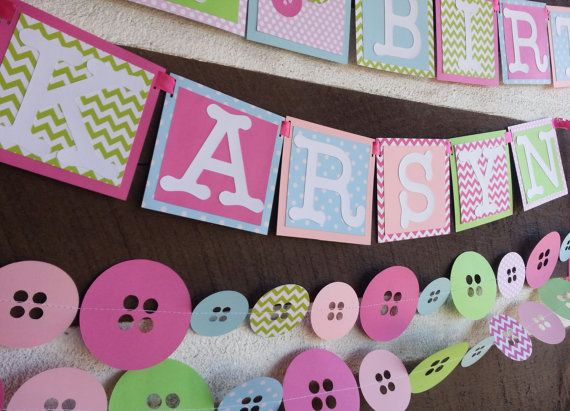 6ft Cute as a button custom Birthday Banner by Kirascollection