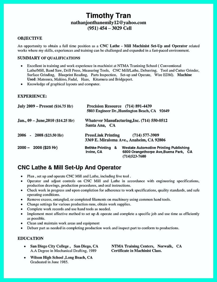 nice Writing Your Qualifications in CNC Machinist Resume? A Must!,