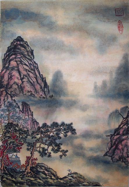 Рисунок - Китайская живопись - Се-И - Горы в тумане. Нажмите на изображение, для того, чтобы посмотреть изображение в максимальном размере