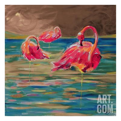 Trio Flamingos Art Print by Anne Ormsby at Art.com