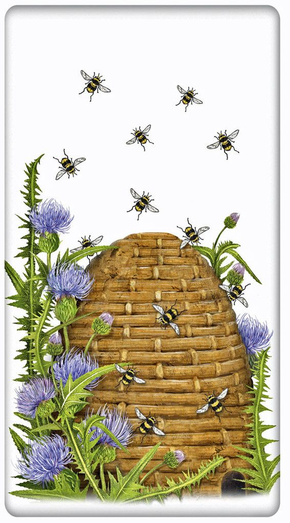 Bee Hive 100% Cotton Flour Sack Dish Towel Tea Towel