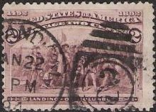 Brown violet 2-cent U.S. postage stamp picturing Landing of Christopher Columbus