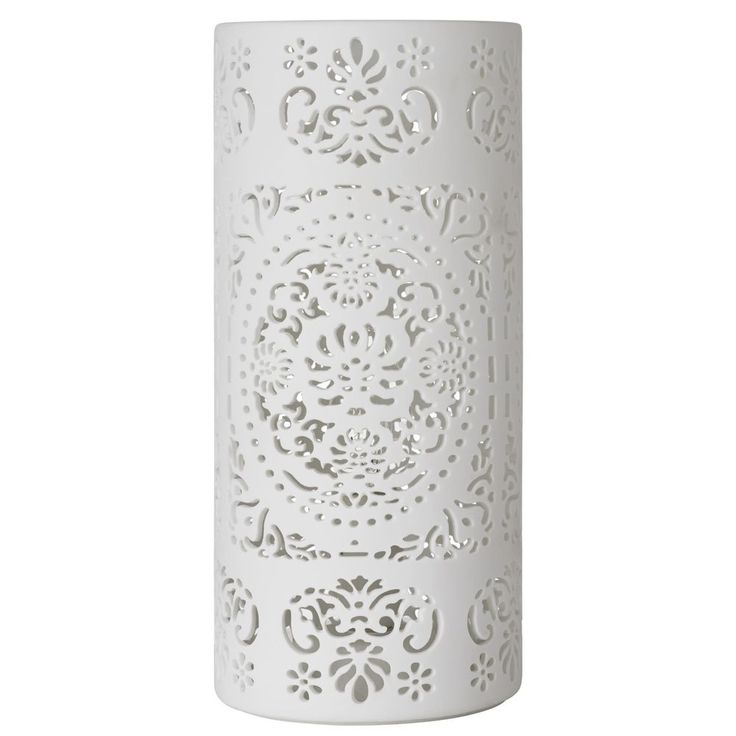 Large Cut out Lace Vase Table Lamp - White Stunning Effect