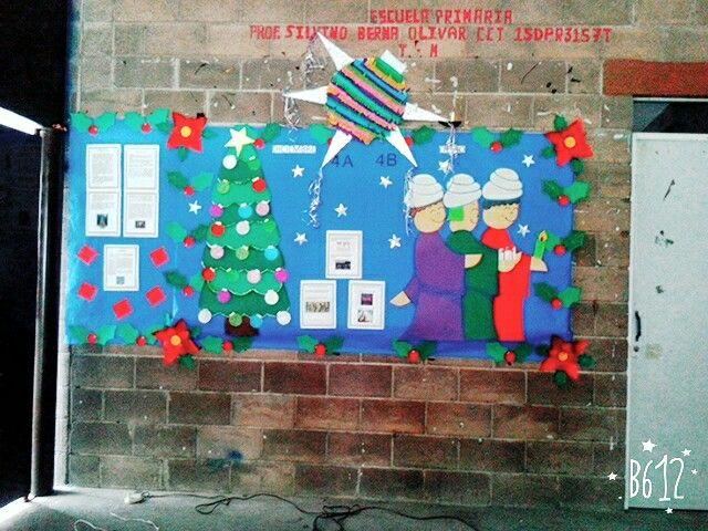 Mural para diciembre peri dicos murales pinterest - Murales decorativos de navidad ...