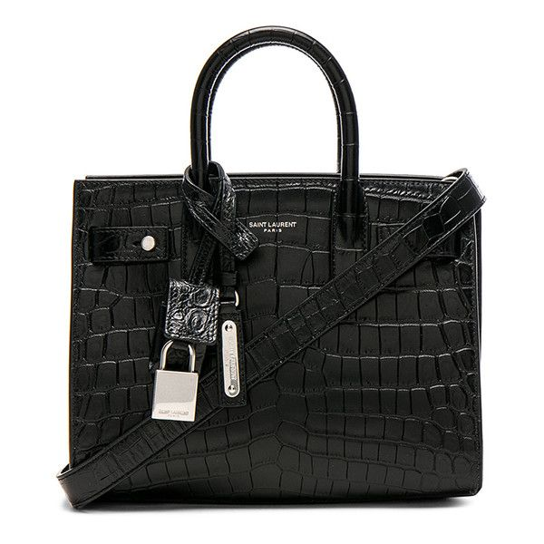 Saint Laurent Nano Croc Embossed Supple Sac de Jour (€1.995) ❤ liked on Polyvore featuring bags, handbags, croco embossed handbags, pocket bag, man bag, croc purse and croc handbags