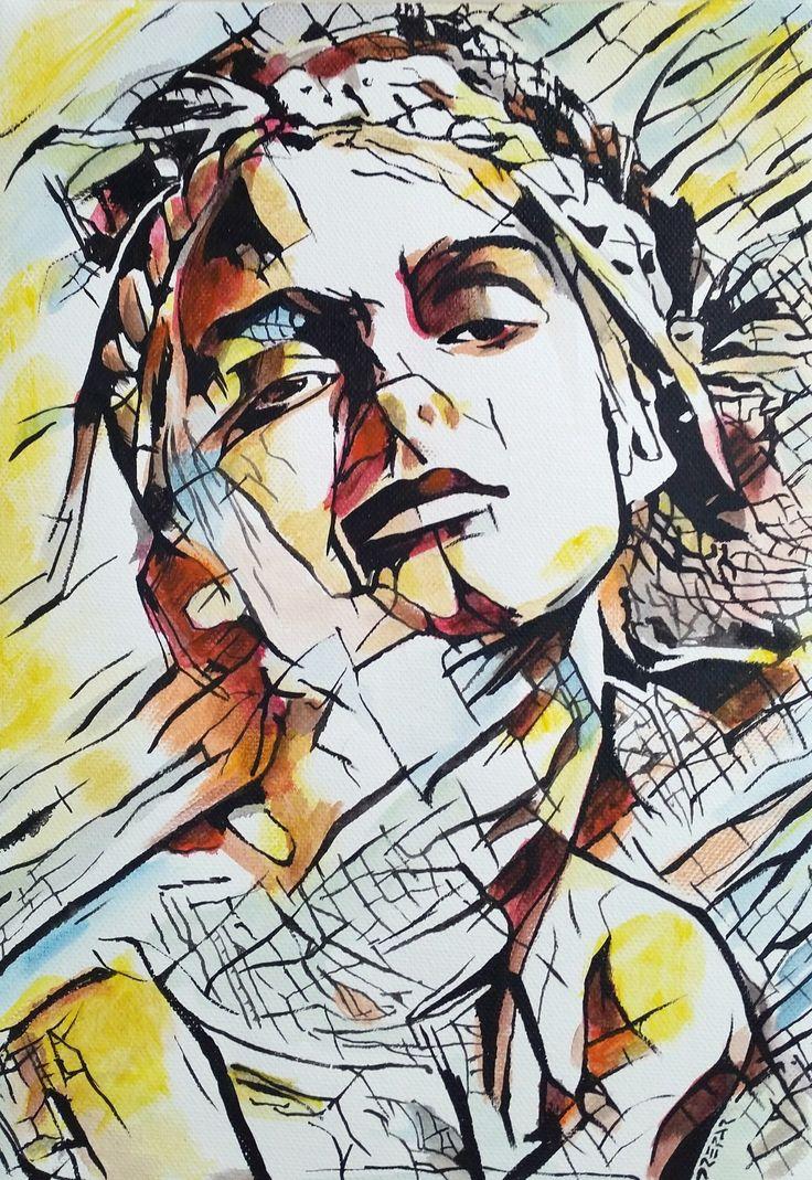 Ho deciso di sperimentare questa scelta estetica-artistica suvari soggetti, in questo caso una giovane ragazza. Il punto di partenza è sempre una fotografia.   #acrilic #art #arte #artworks #bellezza #canvas #dipinto #donna #drepar #espressionismo #espressionismo lineare #face #giallo #girl #icona #info #joy #linee #nice #portfolio #ragazza #rosso #sexy #tela #tela libera #viso #volto #woman