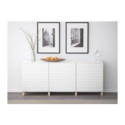 BESTÅ Förvaring med dörrar, vitlaserad ekeffekt, Djupviken vit - 180x40x74 cm - IKEA