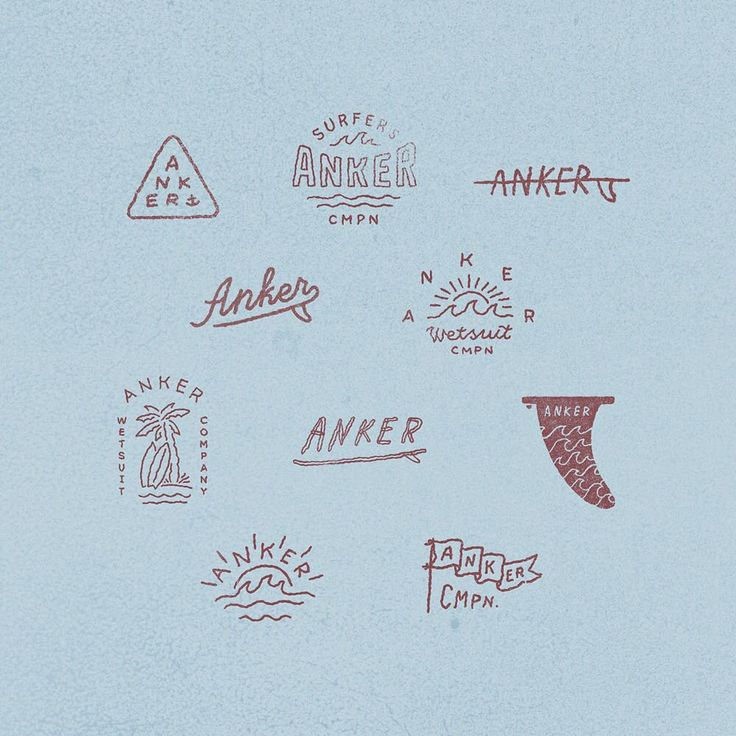 Set of sketches for surf company @ankercompany Part 2    #handdrawn #handlettering #logos #blockprint #anker  logo logotype identity anton gorbunov askmetolie lettering art