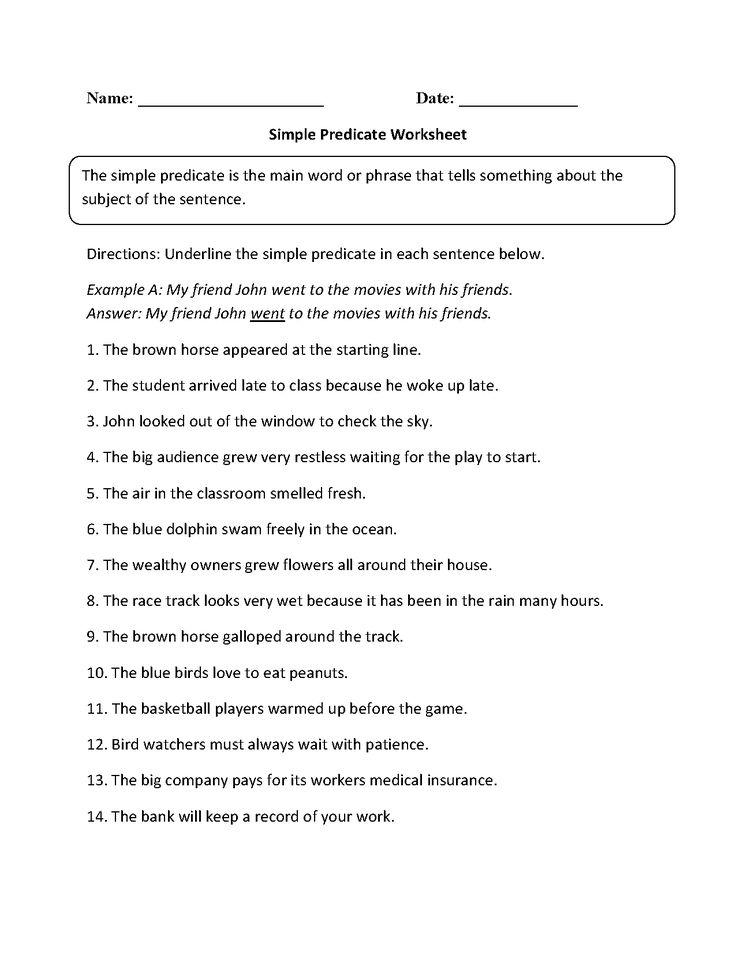 Simple Predicate Worksheet