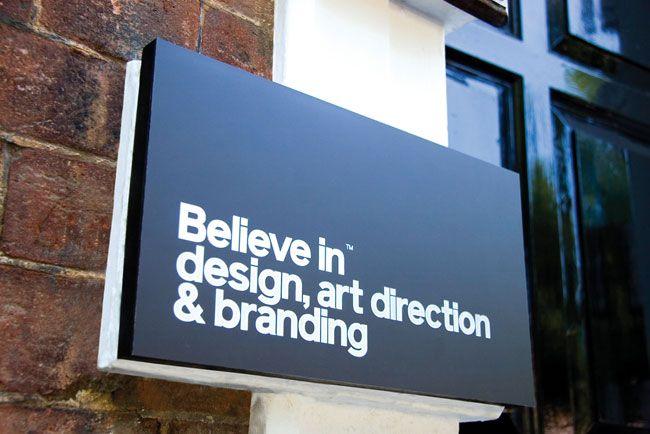 Sign outside design studio.