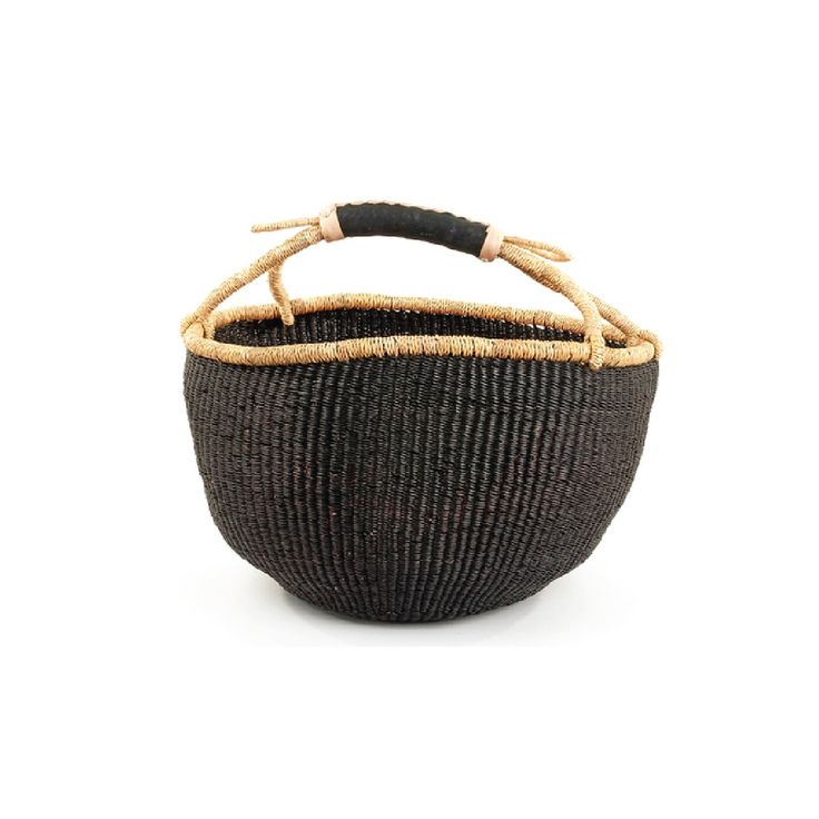 Handmade Ghana Baskets : These hard to come by black bolga baskets are made in