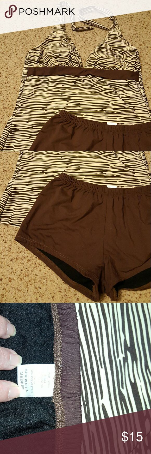 Brown and beige tankini Two piece bathing suit that ties around neck with boy shorts dippin' daisy's Other