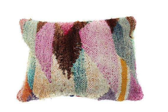 Boucherouite Kilim Pillow Moroccan Pillow by TheBloomingLoomShop