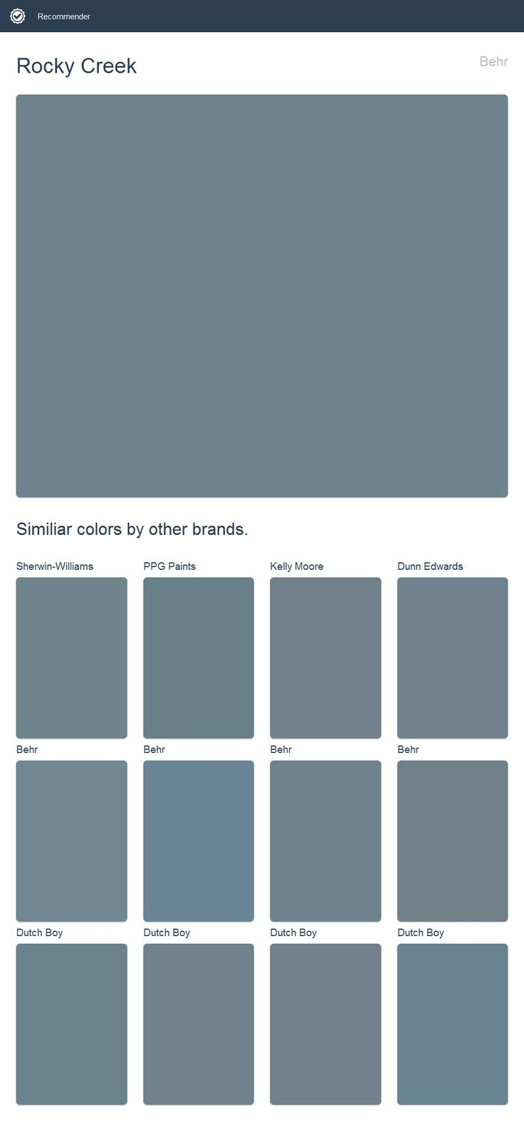 Rocky creek behr click the image to see similiar colors Behr color of the year 2017