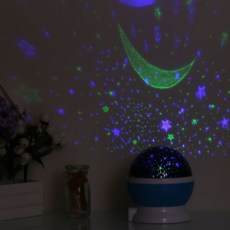 Only US$9.9, blau LED Starry Sky Rotating Night Light Moon USB Ball Projector - Tomtop.com