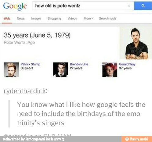 Tumblr/ emo trinity/  Patrick Stump/ Brendon urie/ Gerard Way/ Pete Wentz
