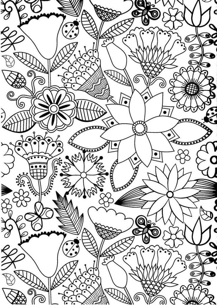 flower lady bug butterfly abstract doodle zentangle