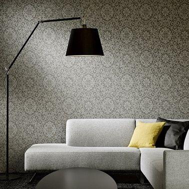 Серый цвет обоев в интерьере.
