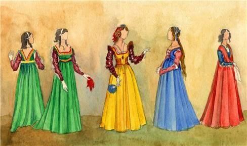 Акварельный эскиз театрального костюма