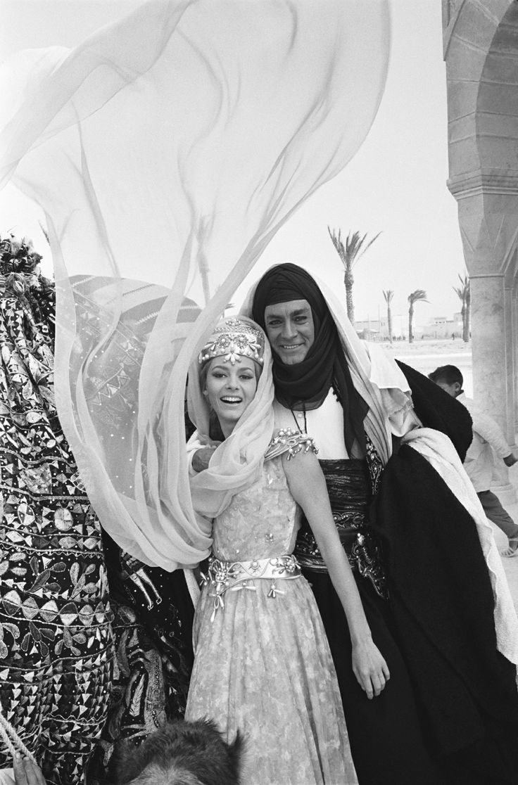 Portrait of Michèle Mercier and Jean-Claude Pascal on the set of Angélique et le Sultan, directed by Bernard Borderie, 1964. ..by Jean-Pierre Bonnotte