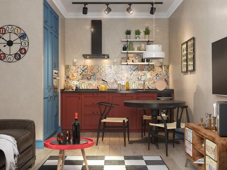 Szép lakások: 45m2-es kétszobás otthon - különleges lakberendezés kellemes színek retro elemek