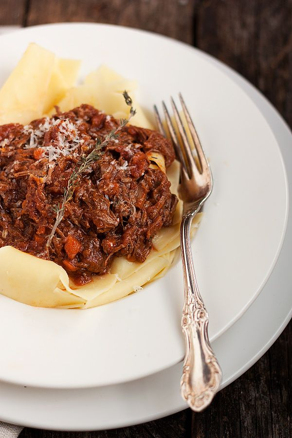 Classic Beef Ragu ~ A hearty beef ragu sauce to serve over pasta. A nice change from ground beef pasta sauce that can be made with economical stewing beef. Can also be made in a slow-cooker.