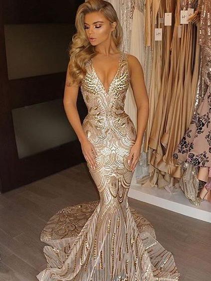 Gold Prom Dresses V-neck Sweep/Brush Train Sexy Prom Dress/Evening Dress JKL213