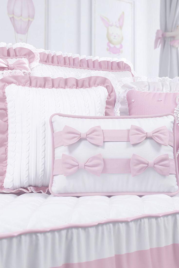 d9a9ae239f3077 Almofadas Tricot Luxo Rosa 3 Peças | Quarto de bebê Tricot Luxo Rosa ...