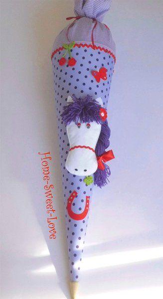 """Schultüte """" Ponyhof  lila """"  Zuckertüte Pferd von Home-sweet-love auf DaWanda.com"""