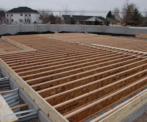 """Framing A Floor Using """"I"""" JoistsThis article teaches you how to build a floor for a house on a concrete foundation. This framing system can also be used for framing storage shed floors.This floor framing system is typical over basements and crawl spaces. Joist spans and spacing are determined by engineering that is published by the manufacturer.Every floor joist manufacturer has product literature and telephone support with engineered span and spacing tables specifying typical joist..."""