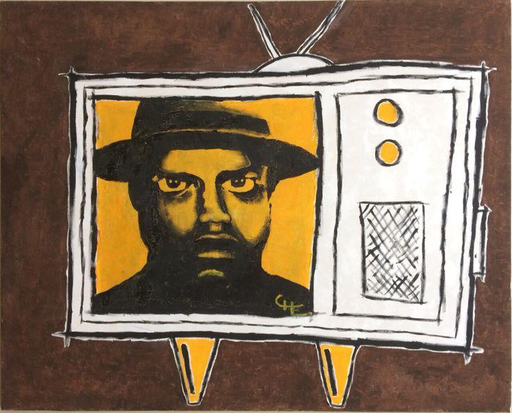 """TV"" (2008) by Chilean artist Cristobal Lagomarsino. Acrylic paint on canvas 100x100cm  #original #fromsouthamerica #artche #canvaspaint www.artevhe.cl #southandsoul"