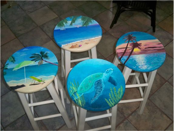 Painted Bar Stools of the Sea