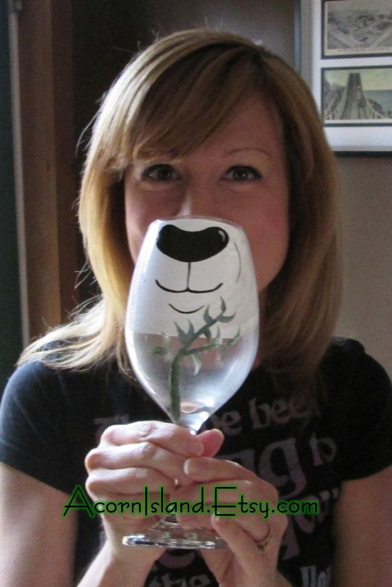 This glass measures approx 9 tall (20 oz.). And will transform the wine drinker INTO a Panda right before your eyes! Everyone always laughs @ me when