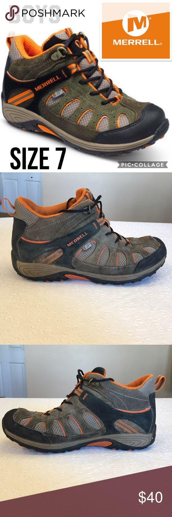 Merrell Boys Waterproof Hiking Boots Size 7 Great Condition! Merrell Shoes Boots