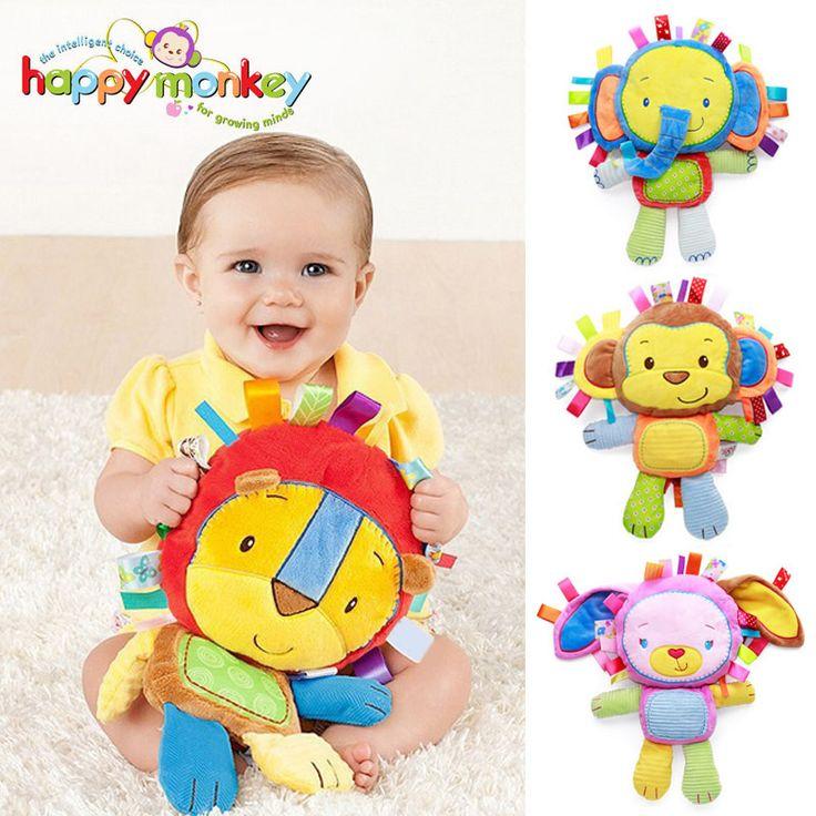 Mono feliz Niños Bebé Lindo de la Felpa Del Traqueteo Animal de Peluche Regalo de Aprendizaje Juguetes Educativos para Los Niños Niño 0-12 mes