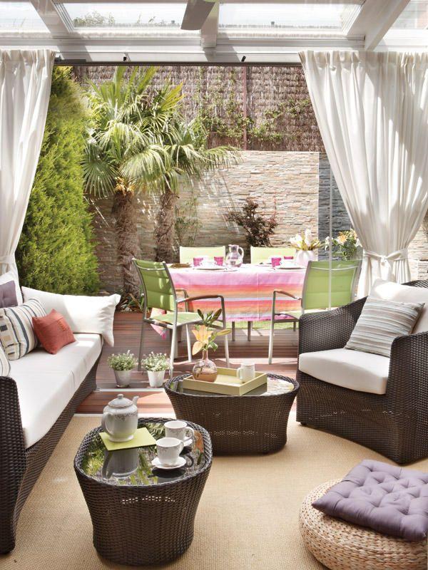Un porche para disfrutar todo el a o disfruta terrazas - Bancos para terraza ...