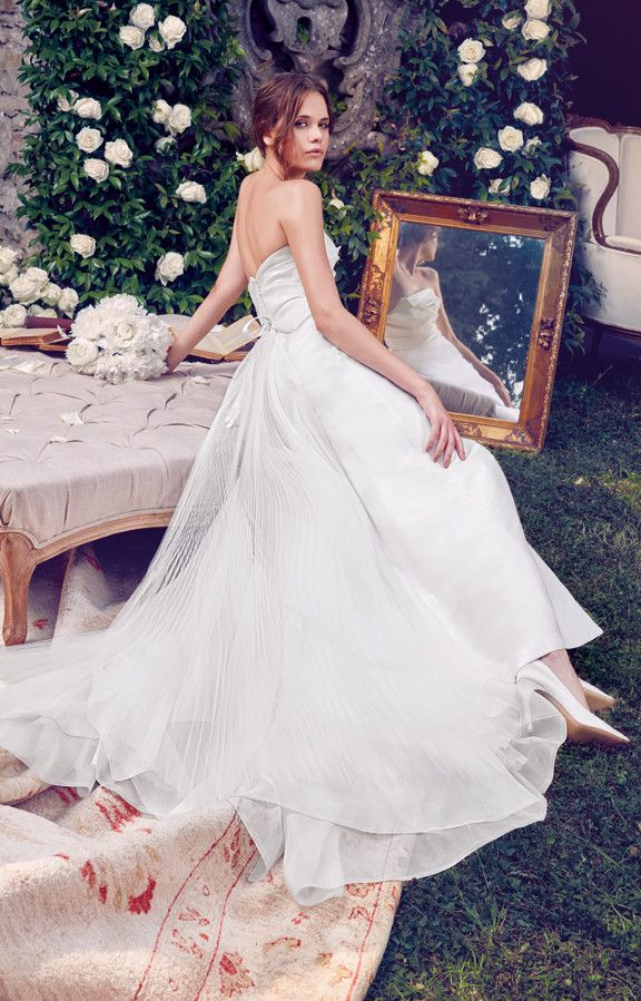 Simple yet sophisticated mikado silk gown with draped bodice and organdis train.  See Giuseppe Papini 2016 bridal collection on www.giuseppepapini.com