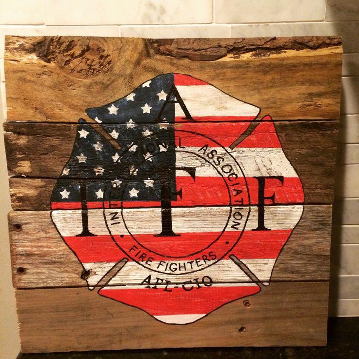 Hand-painted firefighter cross reclaimed wood art by GreenSkiesKansas on Etsy https://www.etsy.com/listing/229133177/hand-painted-firefighter-cross-reclaimed