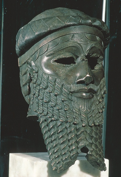 Copper Head of King Sargon of Akkad - Akkadian Empire 2250 BC. Mesopotamian Bronze Age- Iraq Museum, Baghdad.