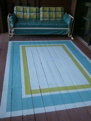 Painted rug on porch - not those colors or design but like the idea