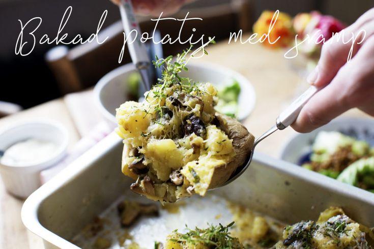 Bakad potatis med svamp, timjan och parmesan