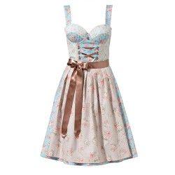 Hellblaues Dirndl mit Blumenprint von ENA-Trachten. Leihen bei dresscoded.com.#dresscoded