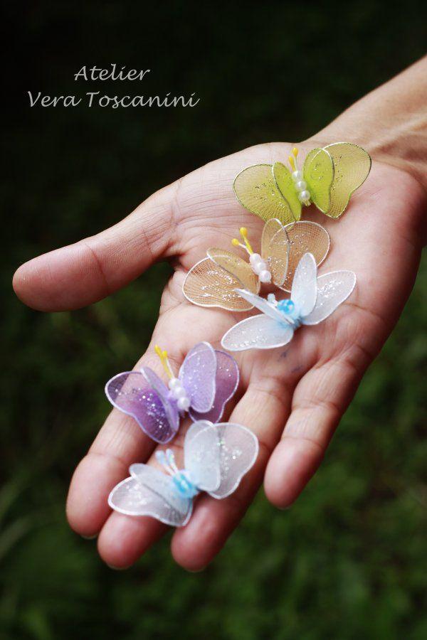 Mini borboletas de meia de seda