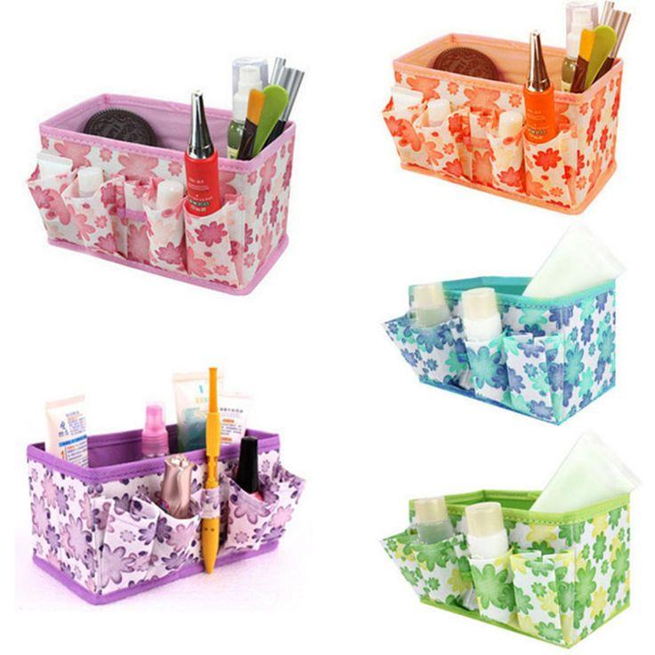 2016 neue Make-Up Kosmetische Aufbewahrungsbox Multifunktions Box Beutel Hell Veranstalter Druck Blume Faltbare Stationäre Container
