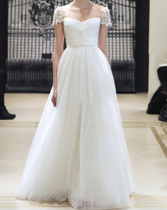 reem acra inspired tulle pearl beading cap sleeves wedding dress bridesmaid dress prom dress