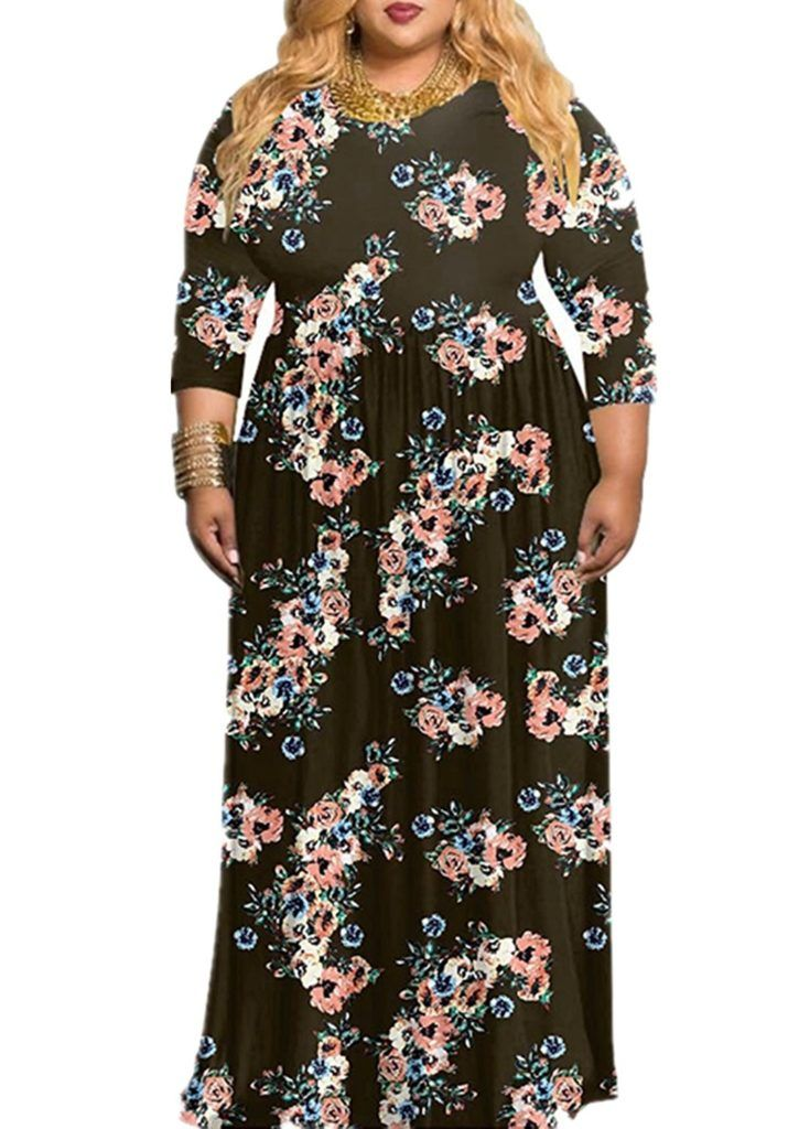 f77bd25b64d75 VIVOSKY Women's Plus Size Maxi Dress Floral Print Long Dress Three Quarter  Sleeve With Pocket Floor-Length Dress