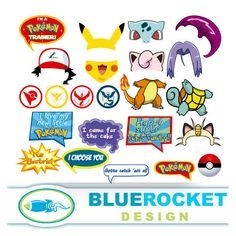 Pokemon Photo Booth Props; Set 24 pieces; Instant Download; High Resolution…