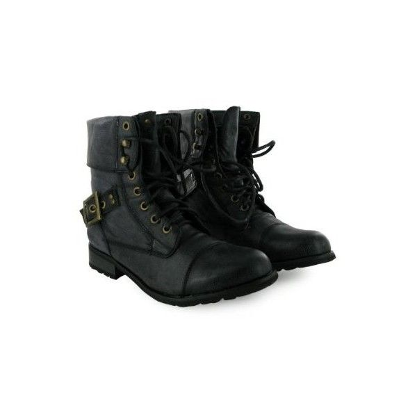 My1stWish 51T Ladies Dirty Black Combat Military Boots Size 3-8 -... (255 ZAR) ❤ liked on Polyvore featuring shoes, boots, botas, synthetic shoes, fashion military boots, military-style boots, army combat boots and fake boots