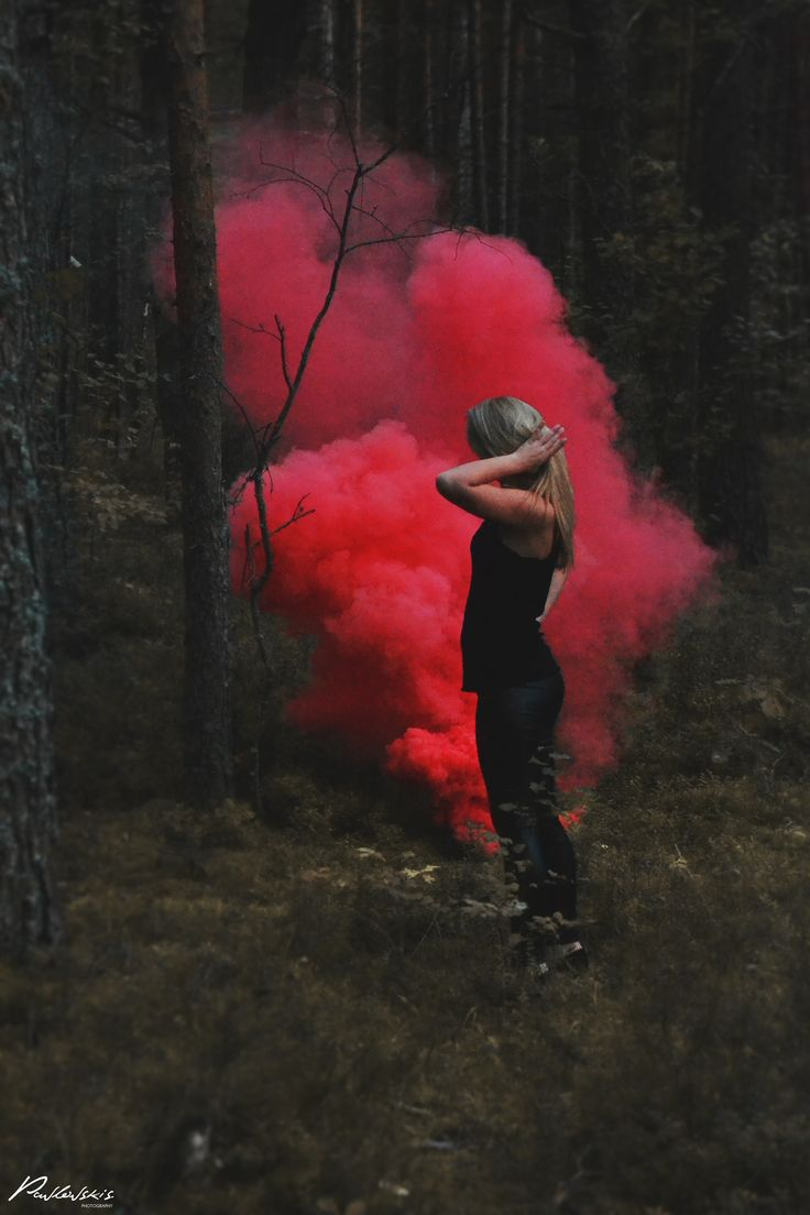 Colored smoke #smoke #red #forest