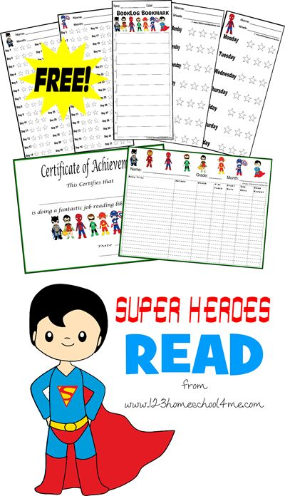 Super Heroes Read - FREE Super Hero themed reading logs and certificates. Lots of different choices to get your kids to look forward to read